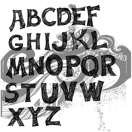 font freehand vector in style zentangl. Hand drawn zentangle style letters