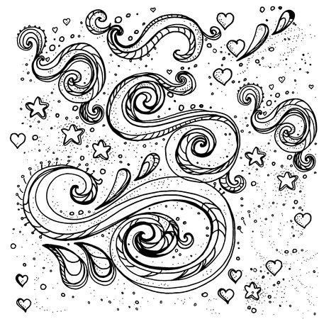 Hand drawn decorative curls and swirls. A collection of vintage vector design elements. Ink illustration.