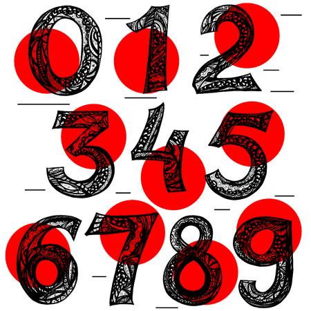 vector set of calligraphic acrylic or ink numbers. ABC for your design, Ink illustration.