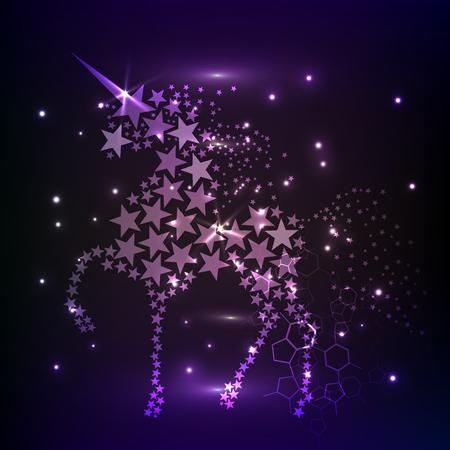 Blue glowing horse unicorn riding night sky star. Creative decoration magical backdrop shining cosmos space horn fairy myth moon light fantasy background vector illustration