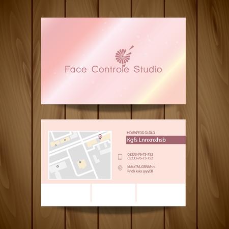 Business Card. Face Control Studio Logo Chamomile