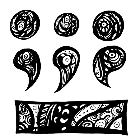 Punctuation marks in doodle style vector illustration, you can use for your design.