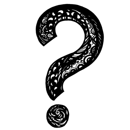 Hand drawn doodle questions marks in vector, you can use for your design.  イラスト・ベクター素材