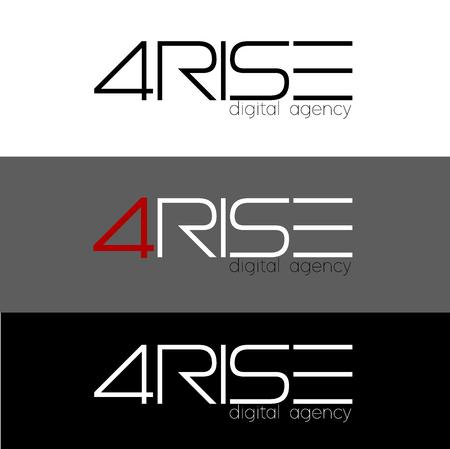 Number 4 vector illustration. four Rise Logo design for digital agency, vector template. Font Lines Logotype for your design.