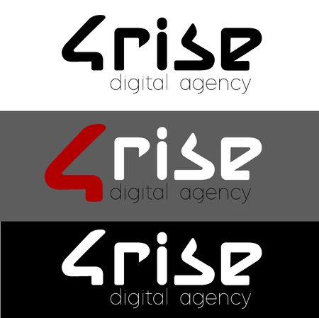 Logotype for your design 4 Rise Logo for digital agency, vector template. Font Lines