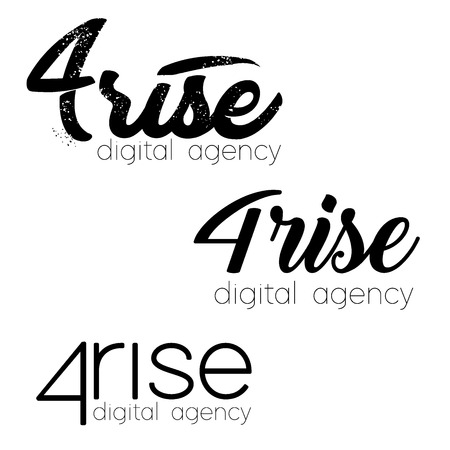 Set Vector logo, 4 Rise Logo for digital agency, vector template. Font Lines  イラスト・ベクター素材