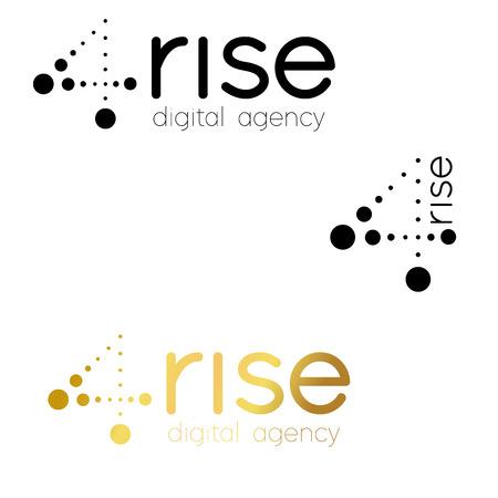 Number 4 logo.Vector logo design for digital agency, vector template. Font Lines  イラスト・ベクター素材