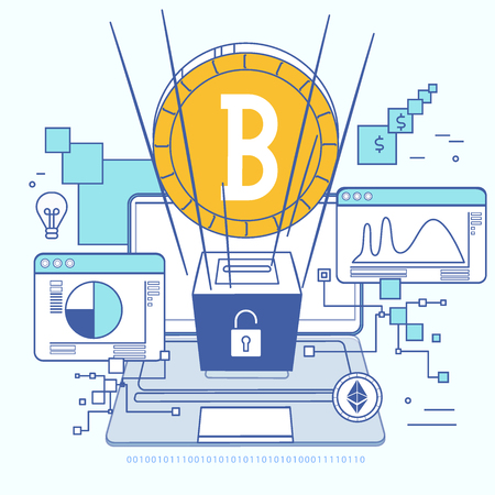 Blockchain technology. Concept in flat style with virtual currency and block chain mining and anonymity. vector illustration