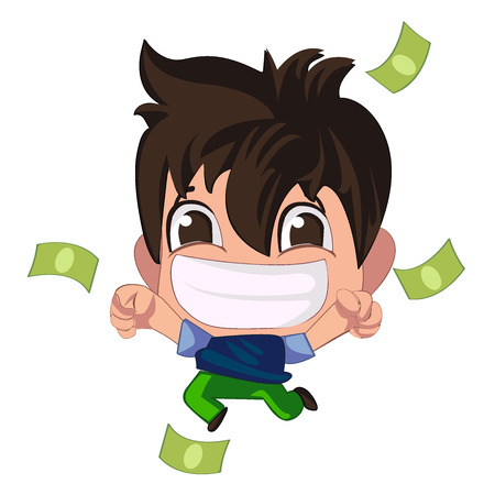 Young brunette guy really happy enjoying huge gift of green money dollars with both hands. Win in a lottery concept 写真素材