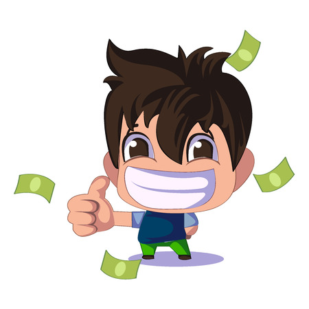 Cartoon cute businessman or managers character with money. Flat . Idea. Money. The path to success and wealth.Thumbs up. Vector.