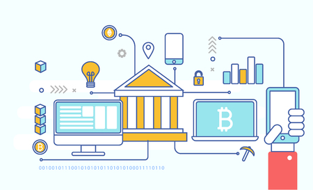 Blockchain technology, business concept low poly with hand holding smartphone and icons. Flat design. vector illustration