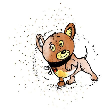 dog hero. Dog in style doodle, Superhero vector cartoon illustration  イラスト・ベクター素材