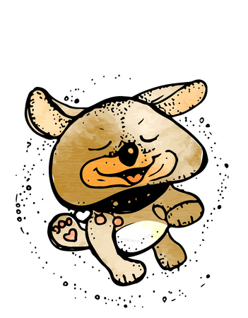 Funny dog. Cute cartoon dog. dog hero Vector illustration.