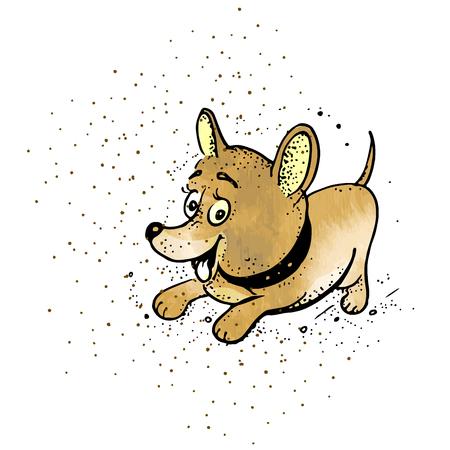 Vector illustration. Cute cartoon dog. Dog in style doodle
