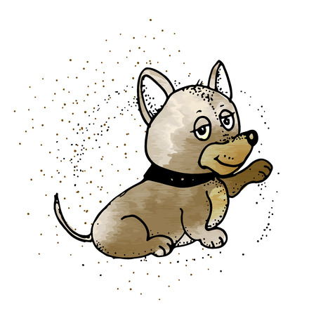 Upset Little Pet Dog Puppy. Emoji Cartoon Illustration. Dog in style doodle  イラスト・ベクター素材