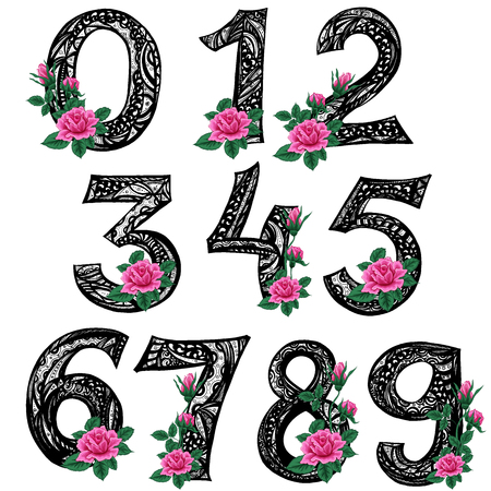 Zentangle.Line art. Striped Numbers from zero to nine with pink rose flowers. Drawing by hand. Vector illustration can be used for web design, booklets, print cards, textile t-shirts, print elements a