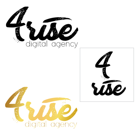 minimal icon logo set. number four diagonal logo template, vector illustration isolated on white background.  イラスト・ベクター素材