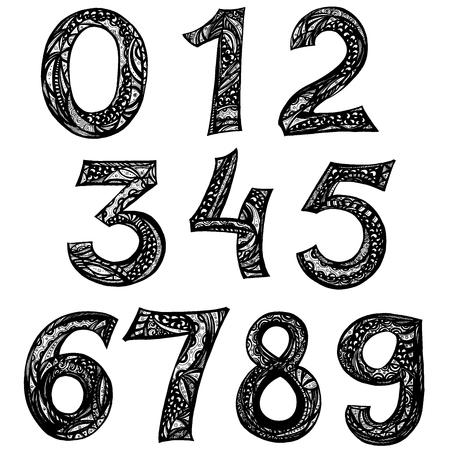 Number doodles. set of ten numbers form zero to nine. 123 for your design, Ink illustration.  イラスト・ベクター素材