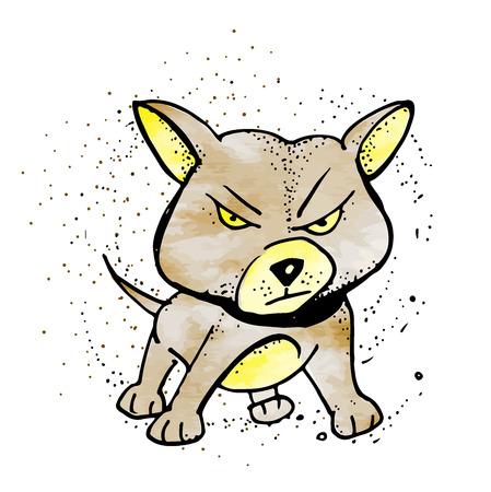 Cartoon barking dog. Vector clip art illustration with simple gradients. Emoji in style doodle 写真素材