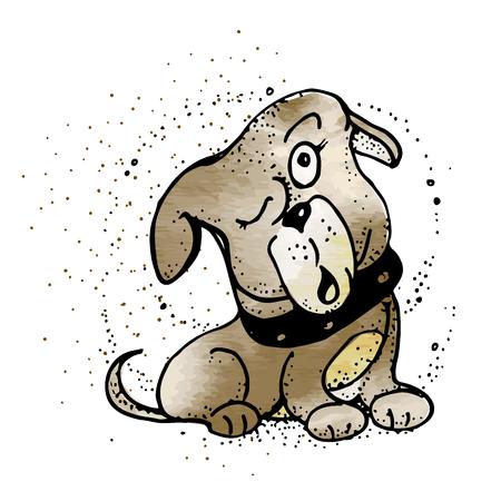 Dog to think of something. Emoji Cartoon Illustration. Dog in style doodle