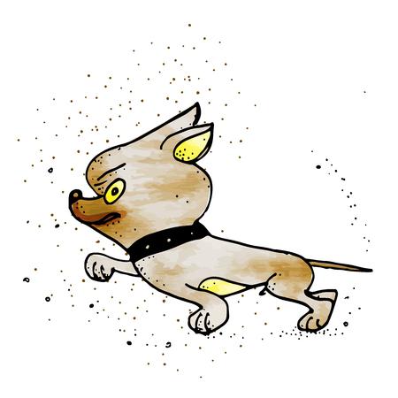 Se hérissant de chien de compagnie brun en colère, illustration de dessin animé d'émotion animale isolée sur fond blanc. Chien drôle, personnage de chiot
