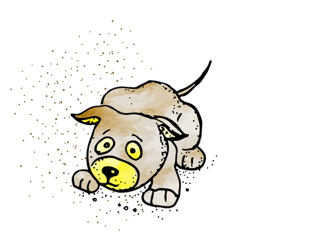 Isolated scared cartoon dog on white background. Cute brown funny dog, puppy character cartoon vector illustration  イラスト・ベクター素材