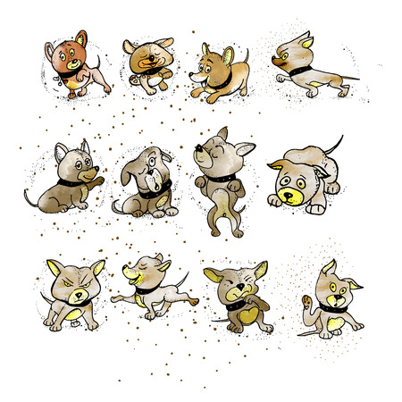 Set a dog of emotions. Different body postures. Front view, side view. puppy character cartoon vector illustration isolated on white background.