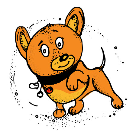 Funny vector illustration with smiley dog. Greeting card design, t-shirt print, invitation template  イラスト・ベクター素材