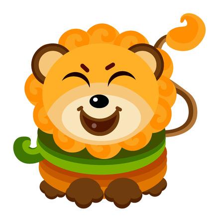 Cute Lion Face Emoticon Emoji Expression Illustration - Smile. Vector