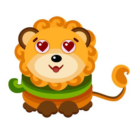 zodiac sign Leo, Emoji Expression Illustration- LOVE. vector illustration