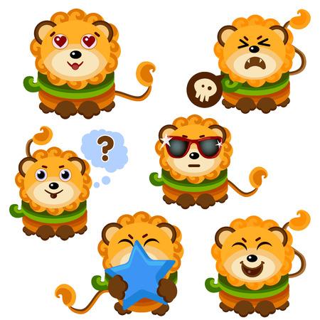 Cute Lion Face Emoticon Emoji Expression Illustration- set zodiac sign Leo