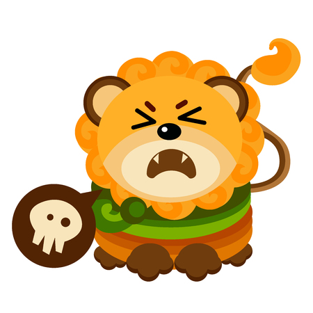 A cartoon illustration of a lion looking scared. Vector  イラスト・ベクター素材