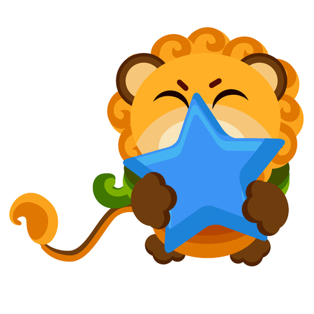 Funny vector cartoon style lion constellation. Star sign of lion. Element for kids fation design, textile and fabric print, poster background, mobile fhone cover.