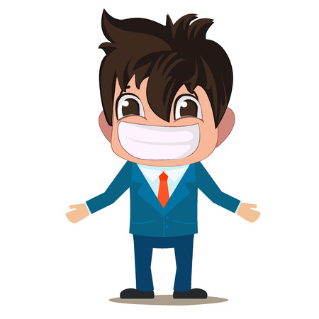 A cartoon funny illustration of a man is in a suit with a big smile. Character design - Vector Illustration