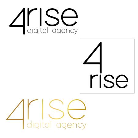 4 rice Logo vector template. . digital agency Font Lines