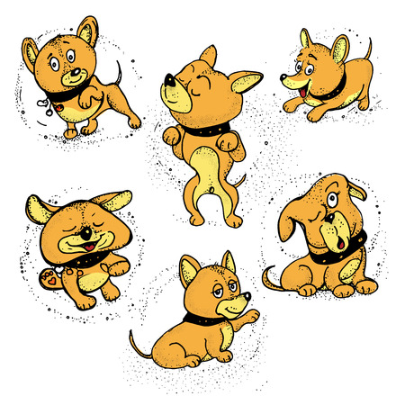 Animal icons. Dogs cartoon with different emotions. vector illustration