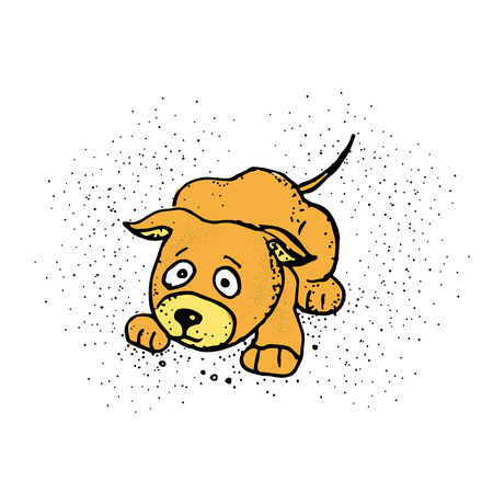 A cartoon illustration of a dog scared. Nice dog. Emoji Cartoon. Vector