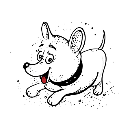 funny cartoon dog. Hand drawing isolated objects on white background. Vector illustration. quick sketch.