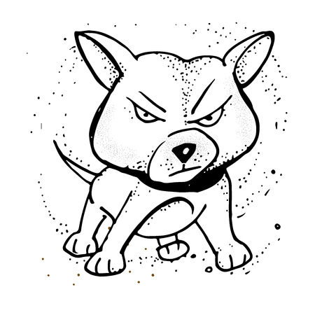 Vector illustration with Angry puppy. Emoji Cartoon. Poster, t-shirt composition, handmade print. Isolated hand drawings in a doodled style.