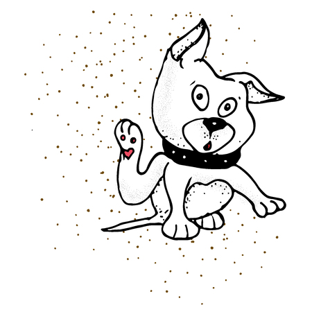 Hand Drawn Symbol of Pet Paw - Doodle Zoo Vector Hatch Icon. dog clenching its eyes, raising its ears, stretching its forelegs and showing worried and desperate while scratching the right side of his