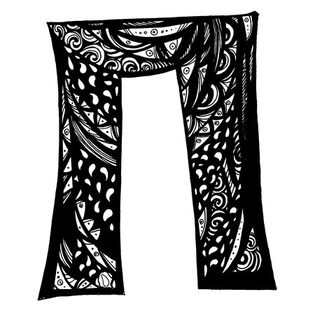 Cyrillic alphabet. A set of capital letters, written with brush. Vector alphabet. Hand drawn letters.