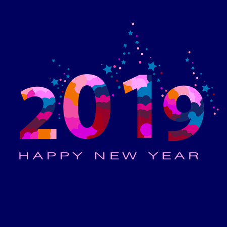 Vector luxury Happy New Year 2019 Greeting Card with colored tinsel. Elegant Calligraphic Alphabet Letters, Numbers and Symbols. 写真素材 - 115251434