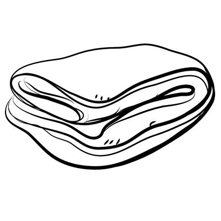 Colcha plegable en estilo doodle. Ilustración vectorial. Icono web o ilustración para niños para colorear