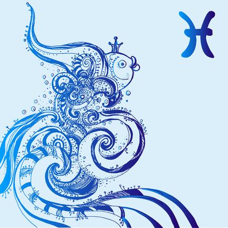 Signo zodiacal Piscis. Ilustración de vector de signo del zodíaco abstracto para talismanes, estampados textiles, tatuaje