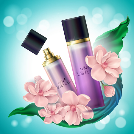 Realistic spray 3d perfume container. Deodorant with flowers for package, branding and advertising. Atomizer for perfume ads. Odor and woman, female and perfumery, fragrance theme  イラスト・ベクター素材