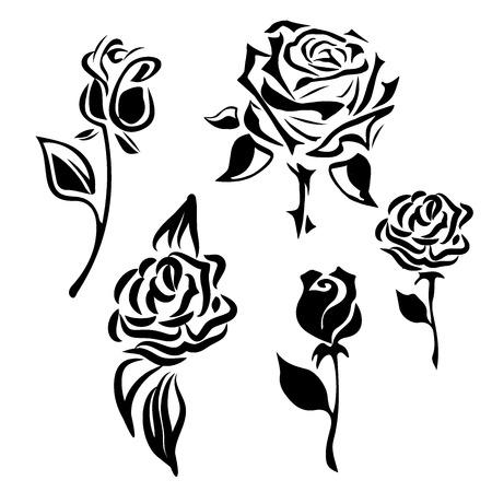 Blumensymbol. Set von dekorativen Rose Silhouetten auf einem weißen Hintergrund Vektorgrafik