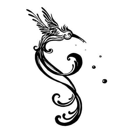 白い背景に分離ベクトルクリップアート鳥ハチドリ。スケッチスタイルのモノクロイラスト。