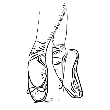 ballet dance. vector ballet shoes, isolated illustration. Sketch silhouette hand drawn pointes shoes