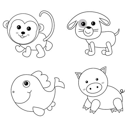 Animal Face Outline Set. funny animals: Monkey, dog, big fish, pig.