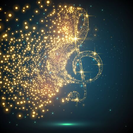abstract music notes design for music background use, vector illustration. Concept in Low poly style.